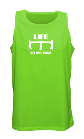 Men's Reflective Tank Top - Life Behind Bars - Neon Green front