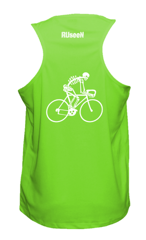 Men's Reflective Tank Top - Road Bike Skeleton - Neon Green back
