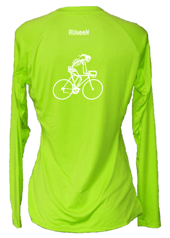 WOMEN'S REFLECTIVE LONG SLEEVE CREW NECK – ROAD BIKE SKELETON – Back – Lime Yellow
