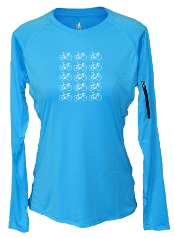 Women's Reflective Long Sleeve Shirt - Ride On! - Crew Neck - Bright Blue front