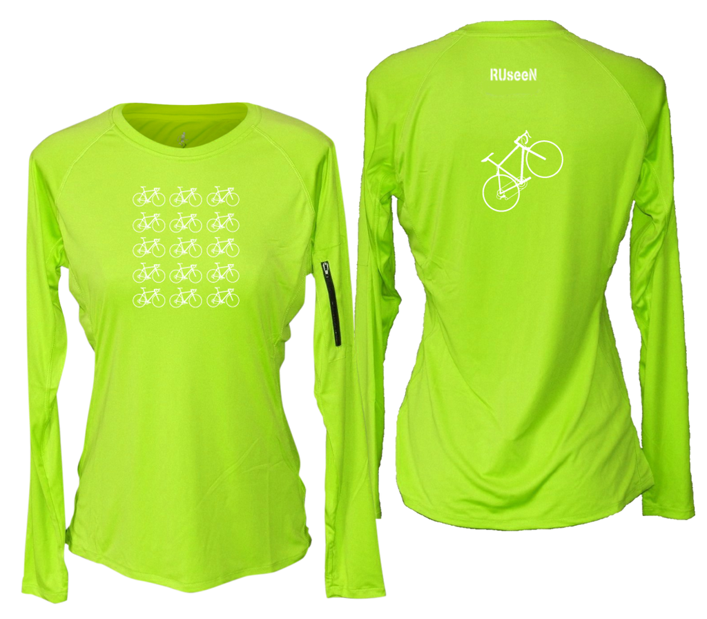 Women's Reflective Long Sleeve Shirt - Ride On! - Crew Neck - Lime Yellow