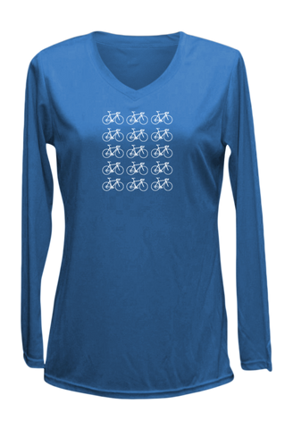Women's Reflective Long Sleeve Shirt - Ride On! - V-Neck - Electric Blue front
