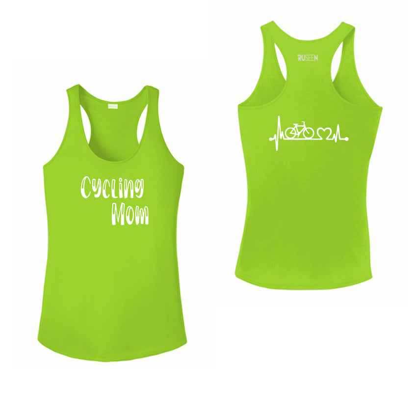 Women's Reflective Tank Top - Cycling Mom - Lime Green