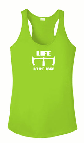 Women's Reflective Tank Top - Life Behind Bars - Lime Green front