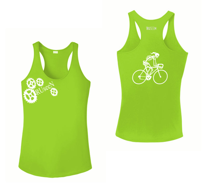 Women's Reflective Tank Top - Female Road Bike Skeleton - Lime Green