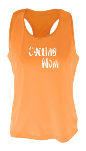 Women's Reflective Tank Top - Cycling Mom - Orange front