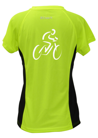 WOMEN'S REFLECTIVE SHORT SLEEVE SHIRT –  BIKE - Back – Lime with Black Sides