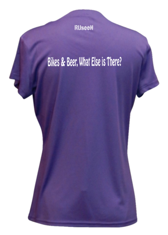 WOMEN'S REFLECTIVE SHORT SLEEVE SHIRT –  BIKES AND BEER - Back – Dark Purple