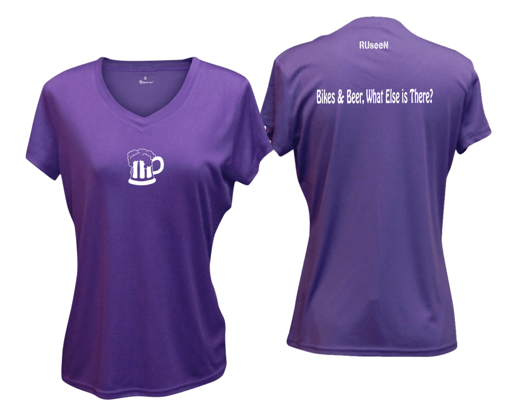 WOMEN'S REFLECTIVE SHORT SLEEVE SHIRT –  BIKES AND BEER - Front & Back –  Dark Purple