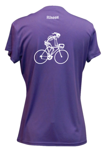 WOMEN'S REFLECTIVE SHORT SLEEVE SHIRT –  FEMALE ROAD BIKE SKELETON - Back - Dark Purple
