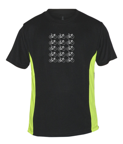Men's Reflective Short Sleeve Shirt - Ride On! - Black & Lime front