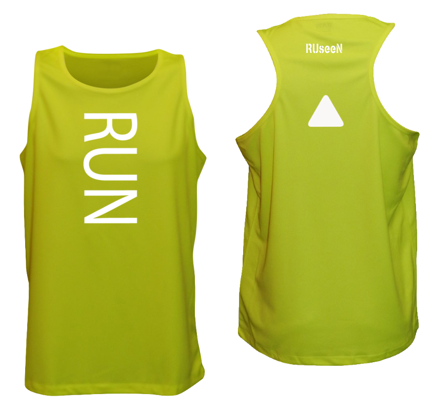MEN'S REFLECTIVE TANK TOP – RUN - Front & Back – Lime Yellow