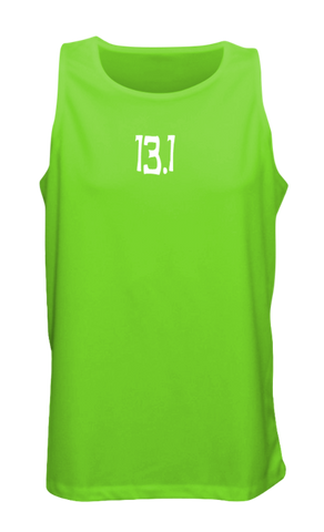Men's Reflective Tank Top - 13.1 Half Crazy - Front - Neon Green