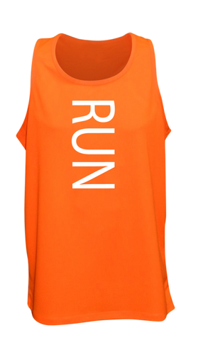 MEN'S REFLECTIVE TANK TOP – RUN - Front - Orange
