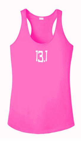 WOMEN'S REFLECTIVE TANK TOP SHIRT –  13.1 HALF CRAZY - Front - Neon Pink