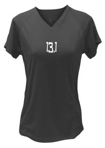 WOMEN'S REFLECTIVE SHORT SLEEVE SHIRT - 13.1 HALF CRAZY - Front - Black