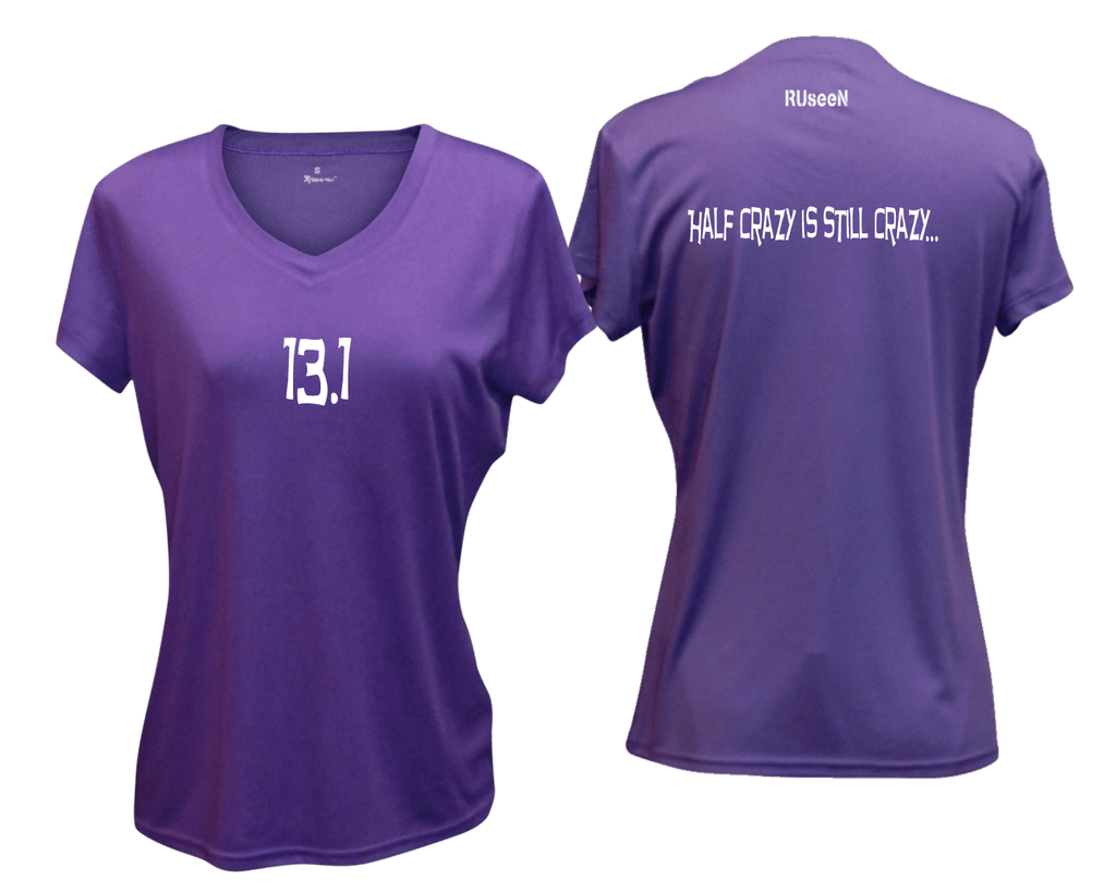 WOMEN'S REFLECTIVE SHORT SLEEVE SHIRT - 13.1 HALF CRAZY - Front & Back - Dark Purple