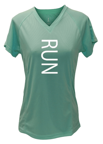 WOMEN'S REFLECTIVE SHORT SLEEVE SHIRT - RUN - Front - Sea Green