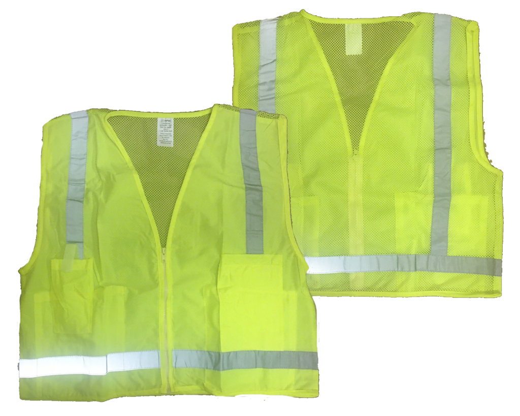 Reflective Economy Vest - Lime Yellow - Front & Back