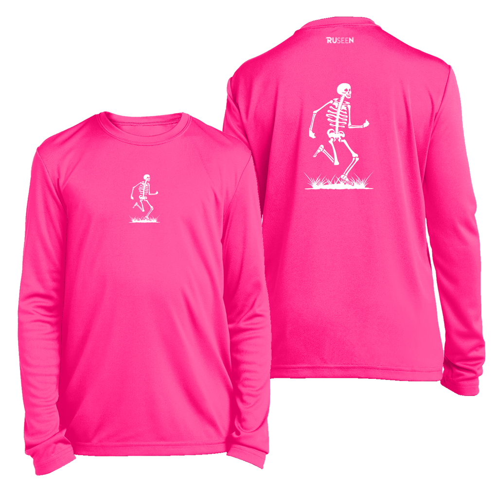 Kids Reflective Long Sleeve Shirt - Skeleton - Neon Pink