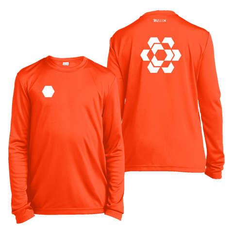 Kids Reflective Long Sleeve Shirt - Fractured Hexagon - Orange