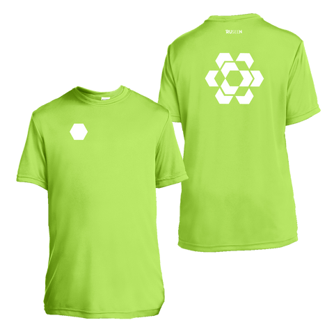 Kids Reflective Short Sleeve Shirt - Fractured Hexagon - Lime Green
