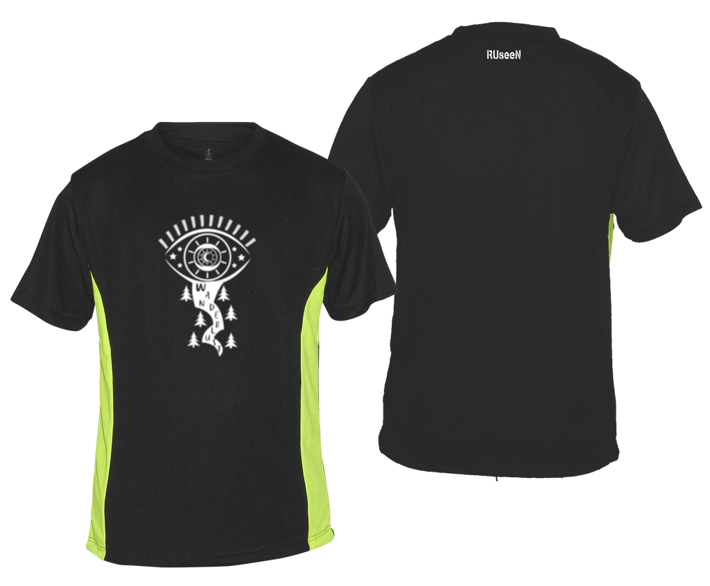 MEN'S REFLECTIVE SHORT SLEEVE SHIRT – WANDERLUST – Front & Back – Black & Lime
