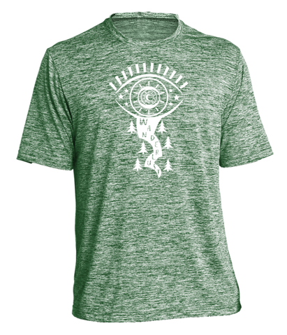 MEN'S REFLECTIVE SHORT SLEEVE SHIRT – WANDERLUST – Front - Green Heather