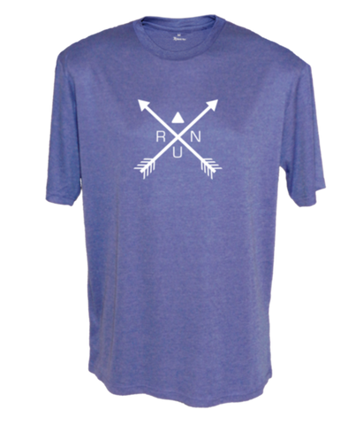 MEN'S REFLECTIVE SHORT SLEEVE SHIRT –  CROSSED ARROWS - Front - Royal Heather