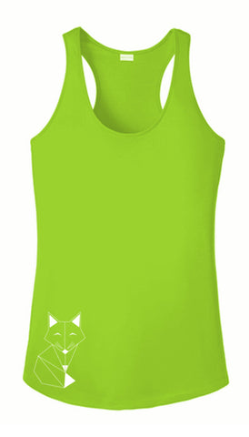 WOMEN'S REFLECTIVE TANK TOP SHIRT –  FOX - Front - Lime Green