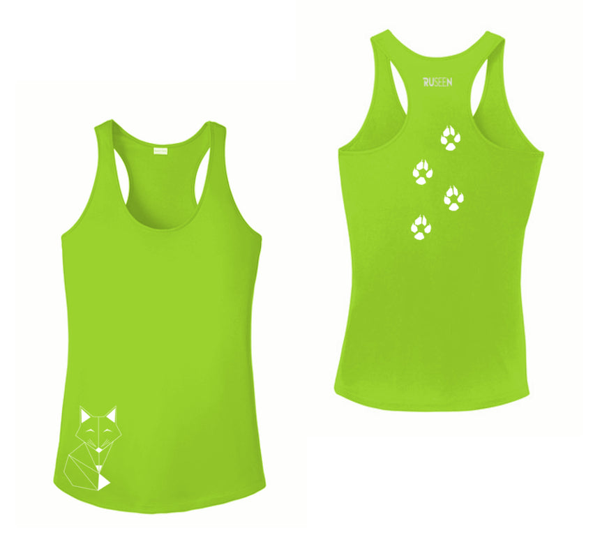 WOMEN'S REFLECTIVE TANK TOP SHIRT –  FOX - Front & Back –  Lime Green