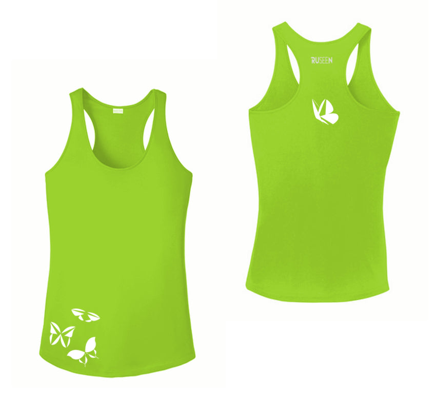 WOMEN'S REFLECTIVE TANK TOP SHIRT –  BUTTERFLIES - Front & Back - Lime Green