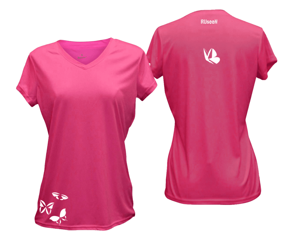 WOMEN'S REFLECTIVE SHORT SLEEVE SHIRT –  BUTTERFLIES - Front & Back – Neon Pink