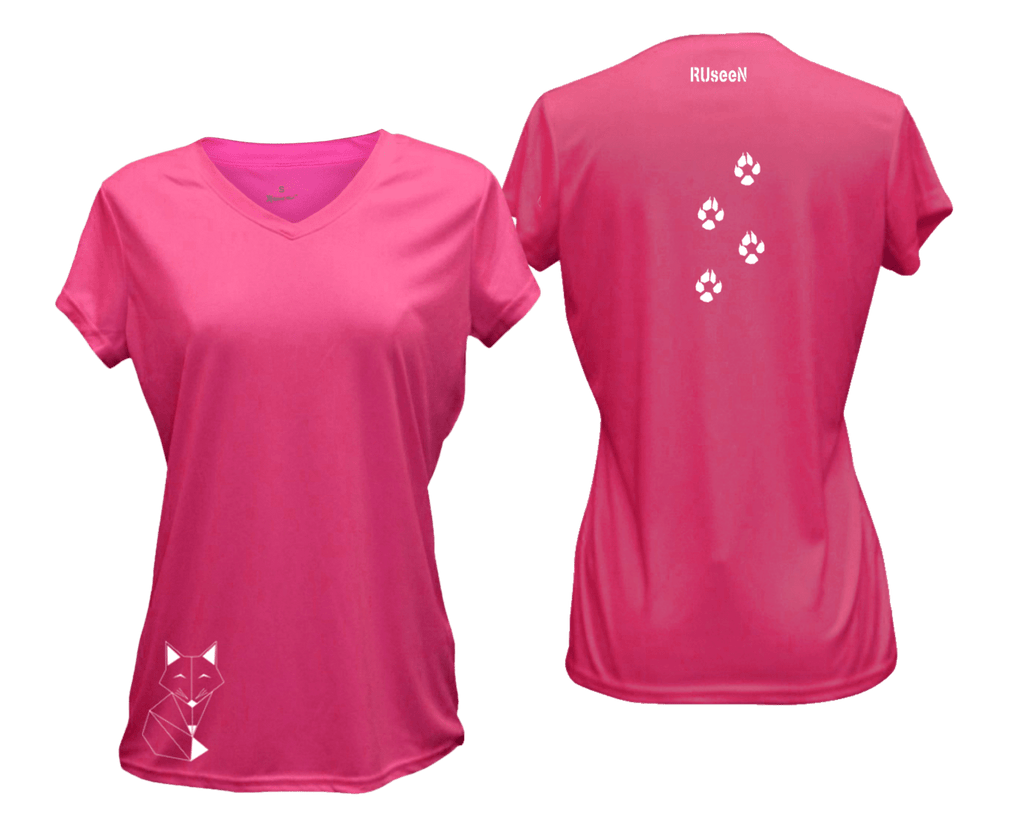 WOMEN'S REFLECTIVE SHORT SLEEVE SHIRT - FOX - Front & Back - Neon Pink