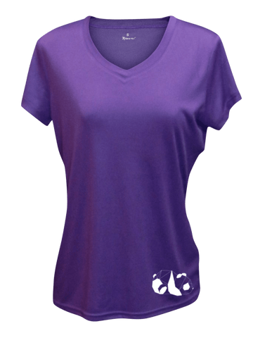 WOMEN'S REFLECTIVE SHORT SLEEVE SHIRT –  PANDA - Front - Dark Purple