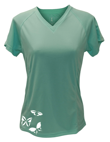 WOMEN'S REFLECTIVE SHORT SLEEVE SHIRT –  BUTTERFLIES - Front – Sea Green