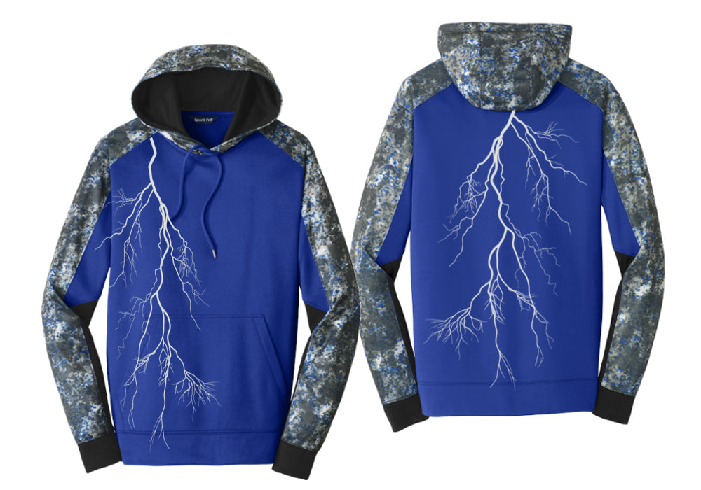 Men's Reflective Hoodie Pullover Sweatshirt - Royal Mineral front & back