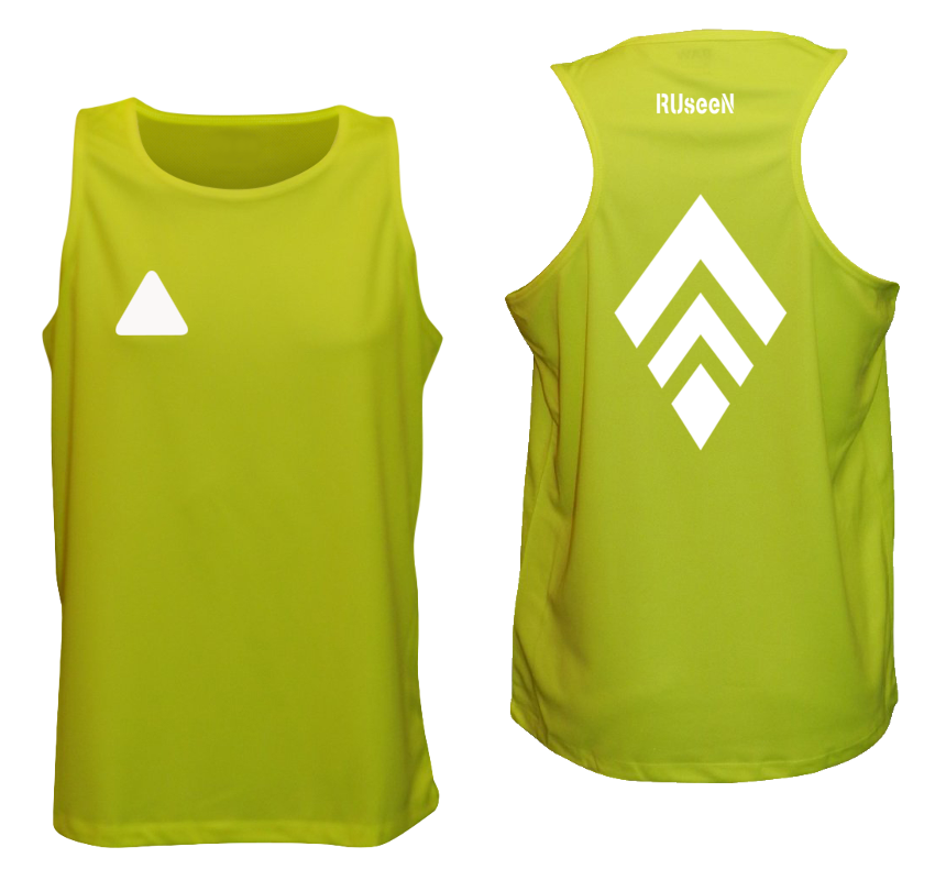 MEN'S REFLECTIVE TANK TOP – BROKEN DIAMOND - Front & Back – Lime Yellow