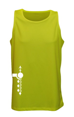 MEN'S REFLECTIVE TANK TOP – PATHS - Front - Lime Yellow