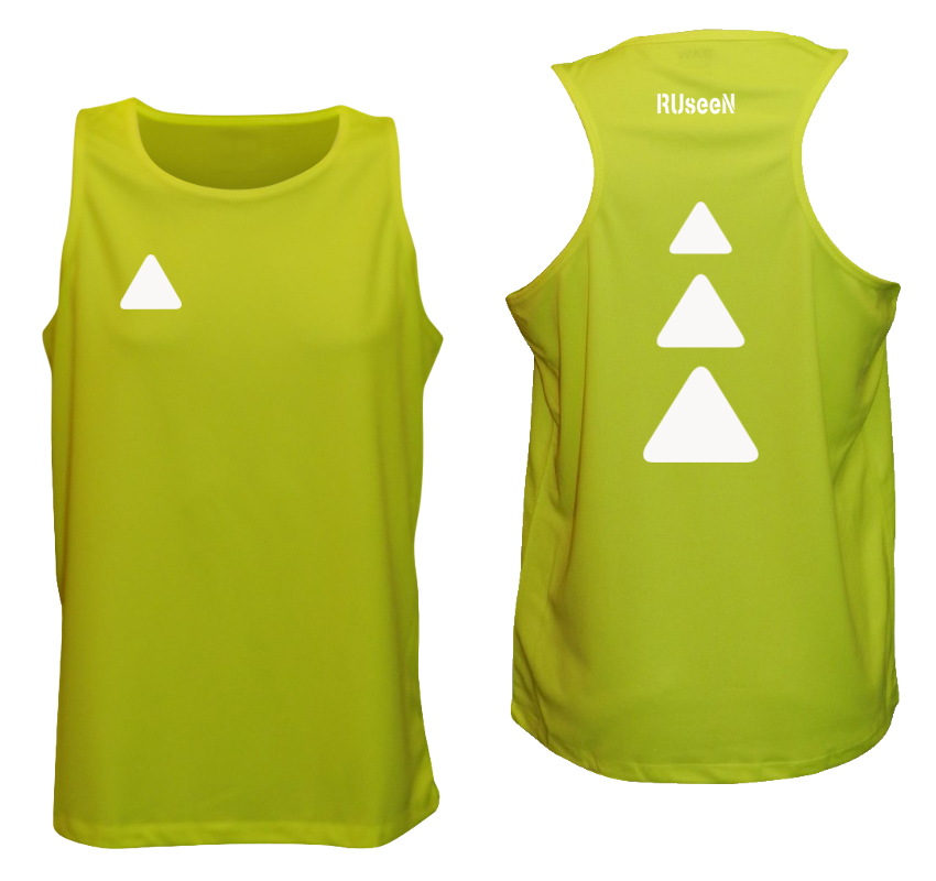 Men's Reflective Tank Top - Triangles - Lime Yellow