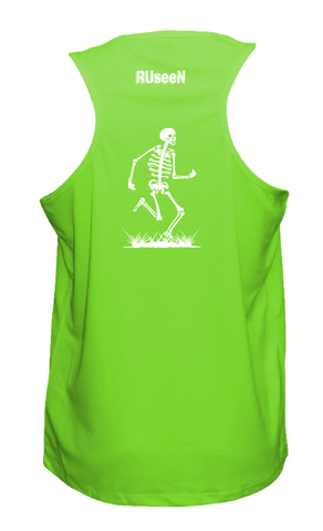 Men's Reflective Tank Top - Skeleton - Back - Neon Green