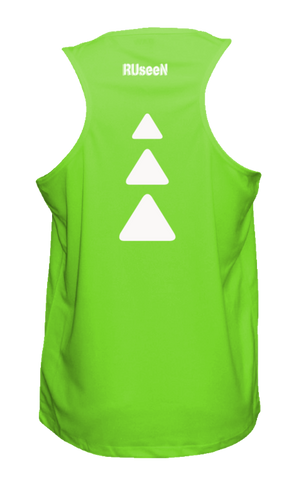 Men's Reflective Tank Top - Triangles - Neon Green back