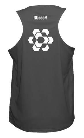 Men's Reflective Tank Top - Fractured Hexagon - Back - Black