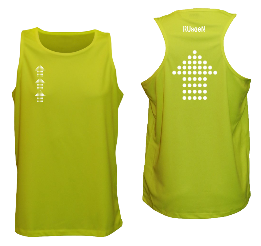 Men's Reflective Tank Top - Dotted Arrows - Lime Yellow
