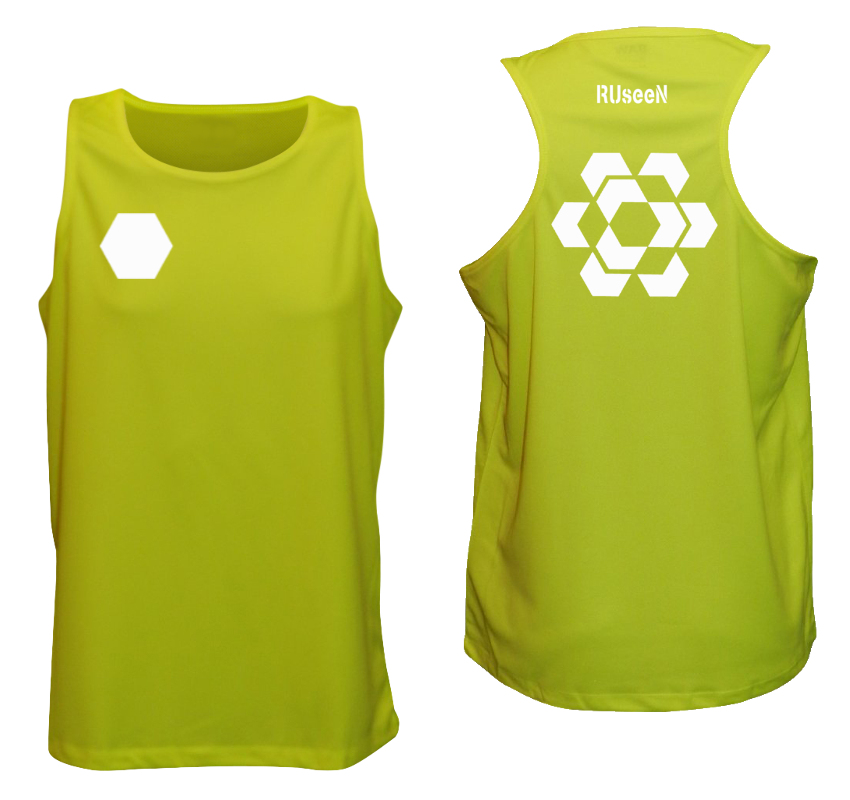Men's Reflective Tank Top - Fractured Hexagon - Front & Back - Lime Yellow