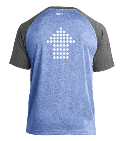 Men's Reflective Short Sleeve - Dotted Arrows - 2 Tone Royal Gray Heather