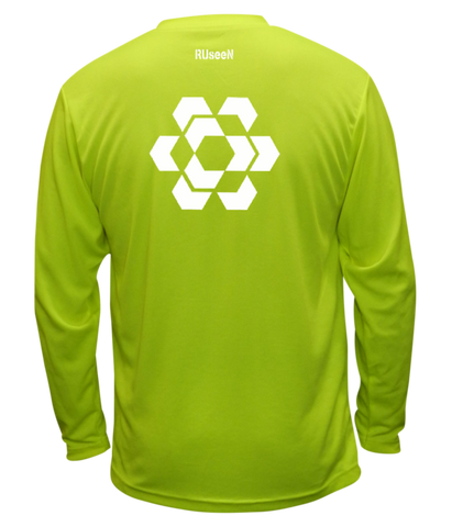 Unisex Reflective Long Sleeve - Fractured Hexagon - Lime Yellow back