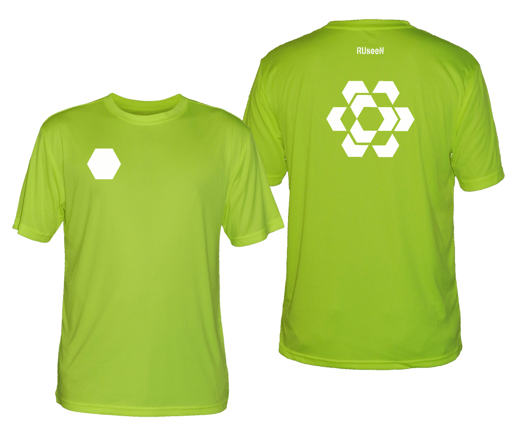 Men's Reflective Short Sleeve - Fractured Hexagon - Front & Back - Lime Yellow