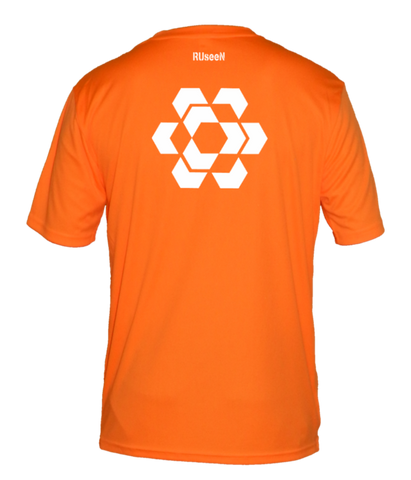 Men's Reflective Short Sleeve - Fractured Hexagon - Back - Orange