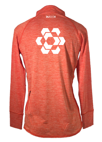 Women's Reflective Quarter Zip Long Sleeve - Fractured Hexagon - Back - Orange Heather